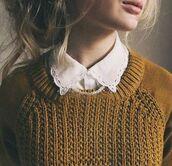 mustard,sweater,collard shirt,collar,blouse,fall colors,lace collar,girly,jumper,top