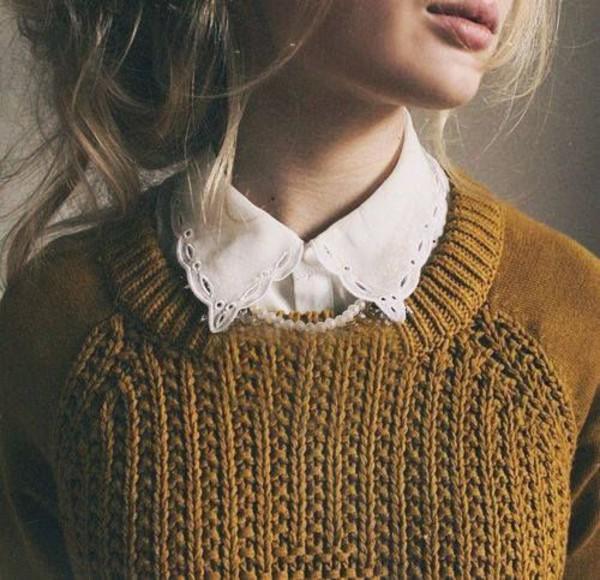 mustard sweater collard shirt collar blouse fall colors lace collar girly jumper top