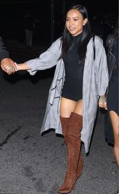 shoes,coat,boots,suede boots,over the knee boots,karrueche,spring outfits,top,shorts