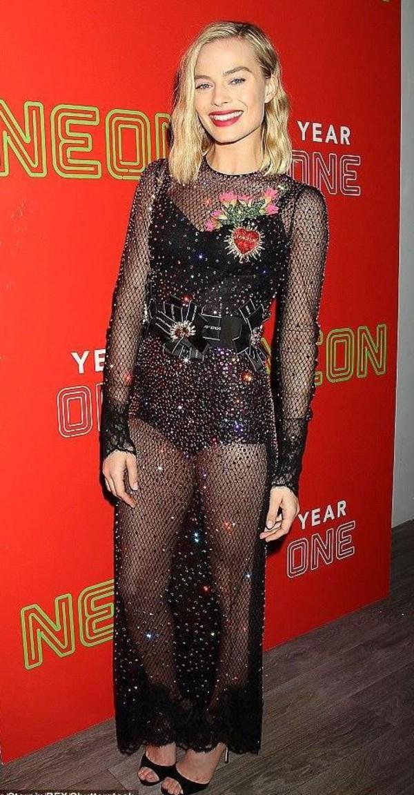 shoes sandals mesh dress black dress gown prom dress underwear margot robbie sparkly dress belt