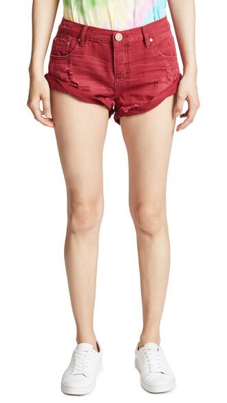 shorts denim shorts denim red