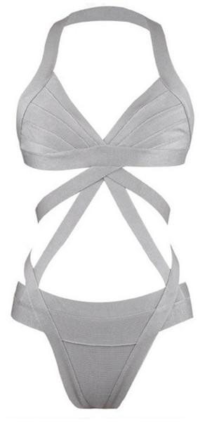 2c4bd33c04 swimwear grey bandage swimsuit one piece swimsuit grey cut out silver swim  silver swim wear bandage
