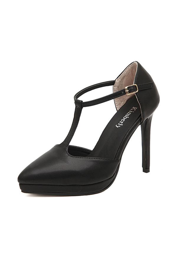 Vintage Black T-Strap Platform Heels [FABI1683] - PersunMall.com