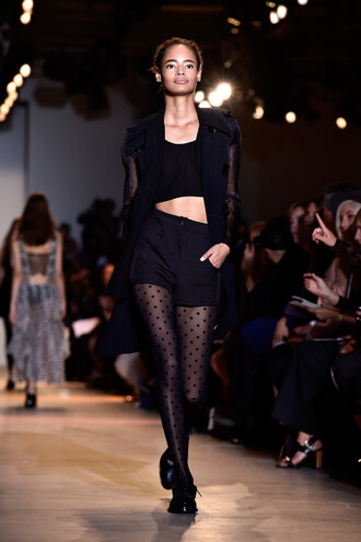 shorts top blazer jacket fashion week all black everything tights polka dots