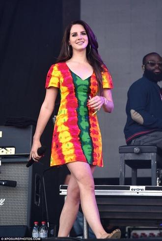 lana del rey colorful tye dye dress