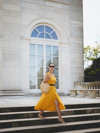 dress tumblr midi dress yellow yellow dress button up bag basket bag sandals slingbacks mid heel sandals sunglasses belt shoes