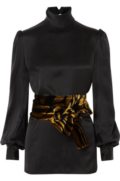 Hillier Bartley top black silk velvet satin
