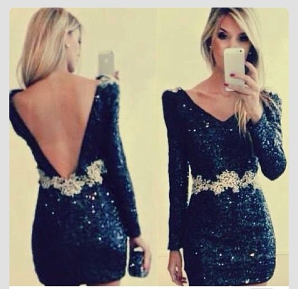 dress little black dress sparkle long sleeves short dress party party dress gold black shimmery belt classy fashioned back sleeve v cut iphone cute dress dark dress long sleeve dress gold and sparkly dress maxi dress