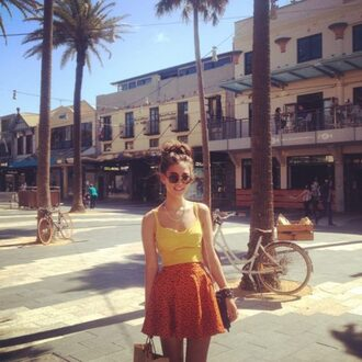skirt sunglasses clothes vintage orange skirt polka dots yellow tank top top crop tops high waisted skirt bustier