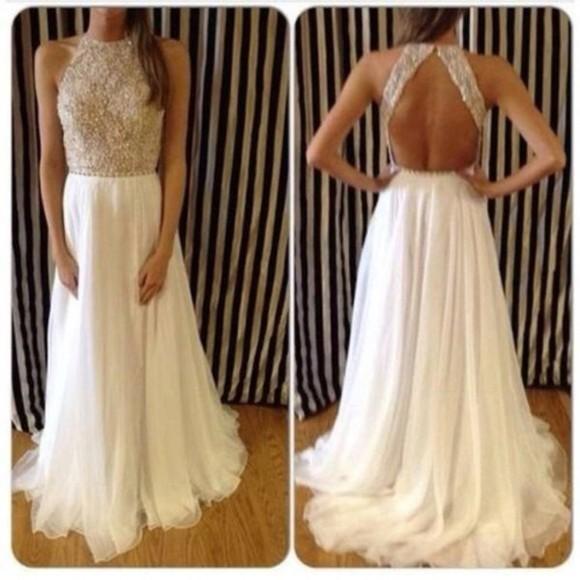 prom dress evening dress chiffon backless dress open back dress silver white dress prom gowns ivory dress beading dress evening gowns sleeveless dress