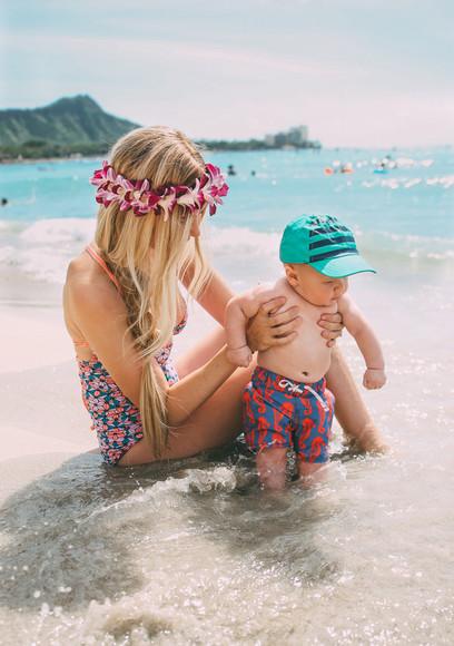 cap barefoot blonde blogger swimwear kids fashion