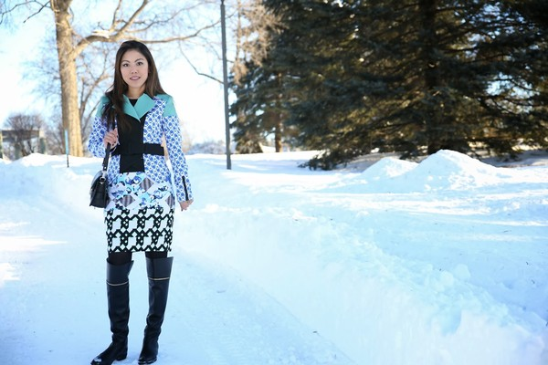 wearing fashion fluently jacket skirt shoes