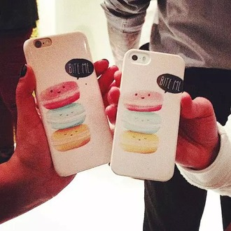 phone cover white bite me cute pink cookie yellow cookie blue cookie