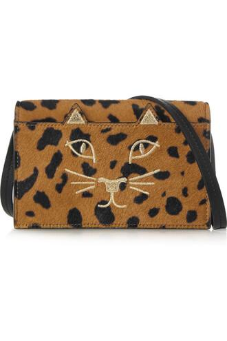 hair bag shoulder bag print leopard print