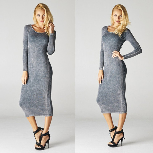 Long Grey Dresses uk Dress Mona Grey Long Sleeves