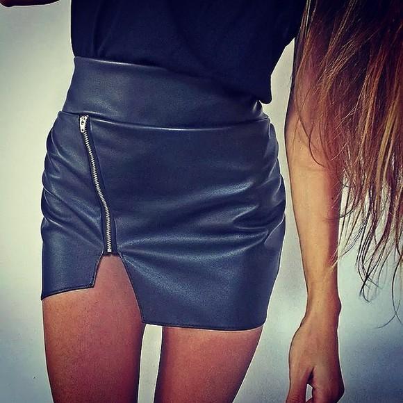 skirt asymmetrical skirt mini skirt asymmetric asymmetric skirt leather skirt black leather skirt black skirt zipper skirt siammose black top style trend high slit high wasted