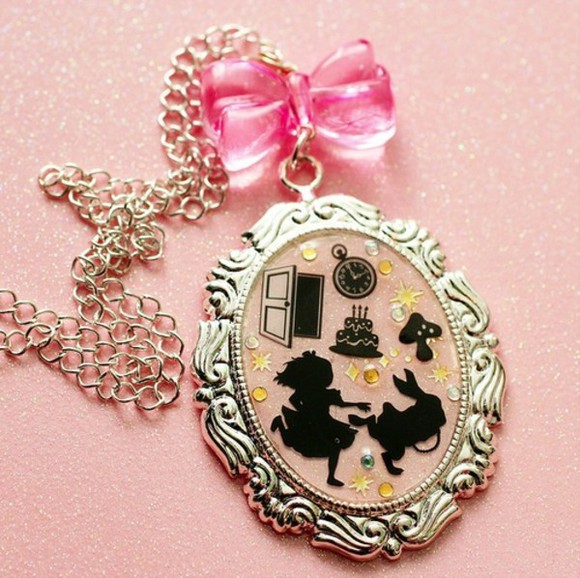 precious romantic necklace silver gold cute bows bunny alice clock mushroom cake door pink jewels