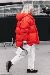 jacket,tumblr,red jacket,down jacket,puffer jacket,pants,white pants,shoes,black shoes,socks and sandals,socks,fashion week 2017,streetstyle