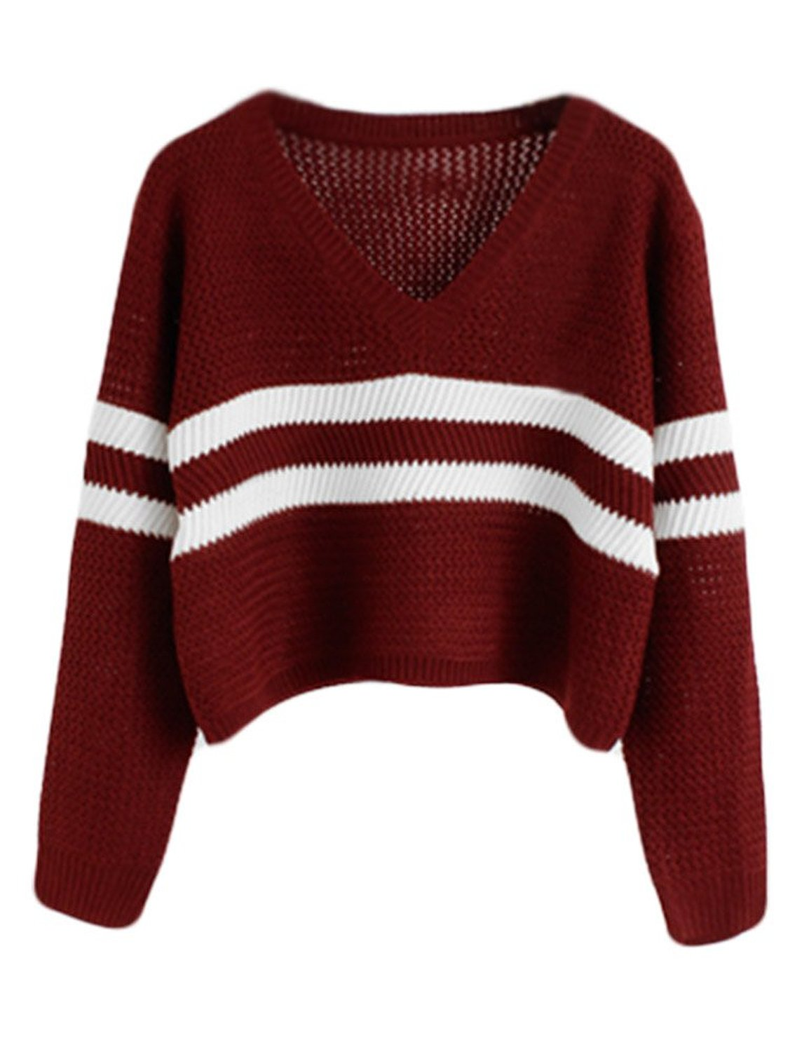 PrettyGuide Women Eyelet Cable Knit Lace Up Crop Long Sleeve Sweater Crop Tops (Striped Burgundy) at Amazon Women's Clothing store:
