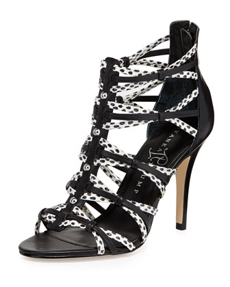 Ivanka Trump Manis Snake-Print Leather Sandal, Black/White