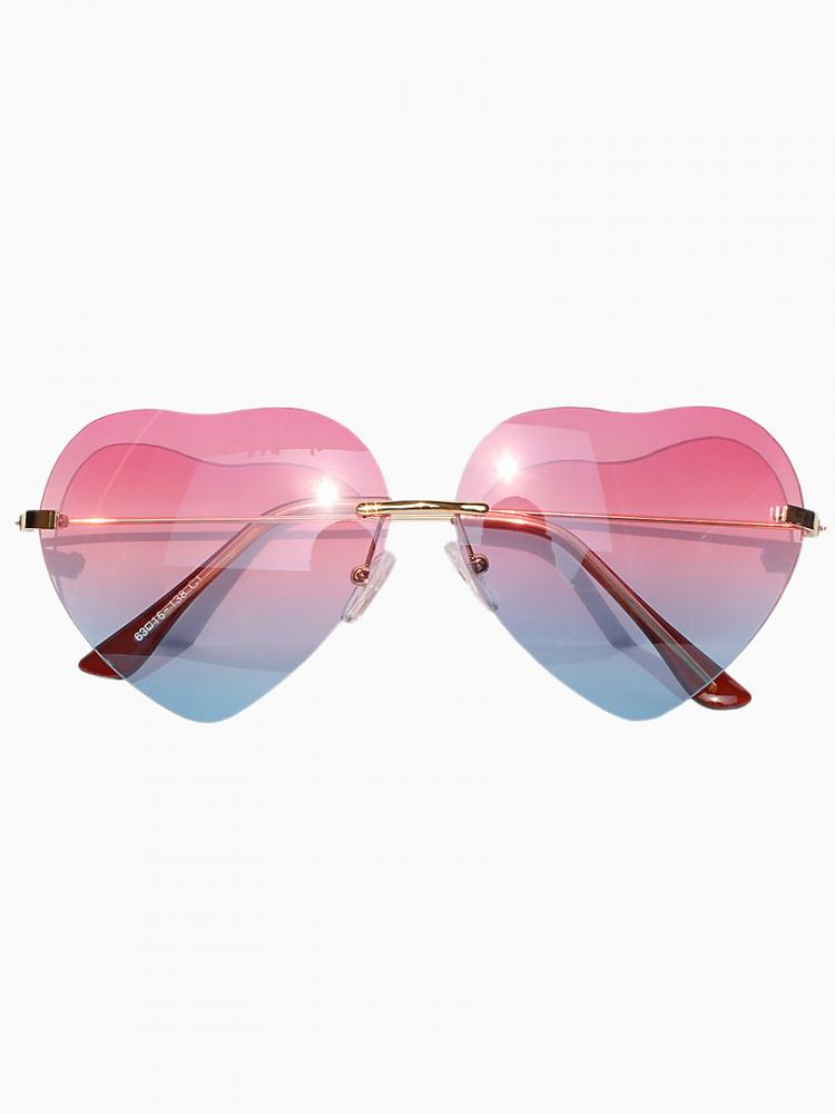 Gradient Red Blue Heart Shaped Aviator Sunglasses Choies