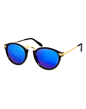 ASOS | ASOS – Runde Sonnenbrille mit auffälliger Metallschiene und verspiegelten Gläsern bei ASOS