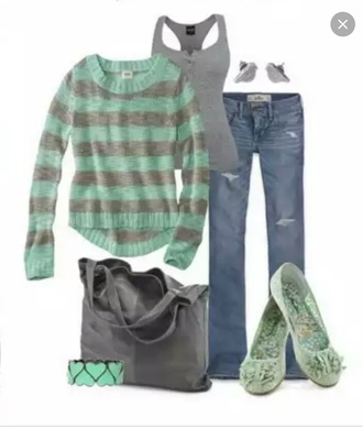 sweater mint sweater grey sweater striped top knitted sweater mint and grey