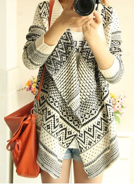 Beige and Black Geometric Pattern Cardigan