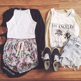 shorts outfit sneakers vans los angeles tank top cool girly denim pants cardigan blouse top floral printed shorts printed pants