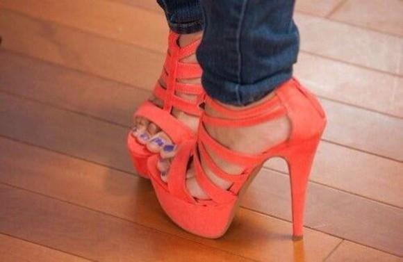 orange orange shoes neon heels strappy sandals platform shoes platform high heels high heels neon heels