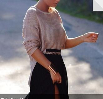 skirt long sleeved shirt maxi skirt chain belt