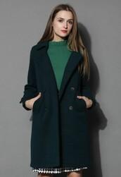 chicwish,turquoise coat,wool-blend coat