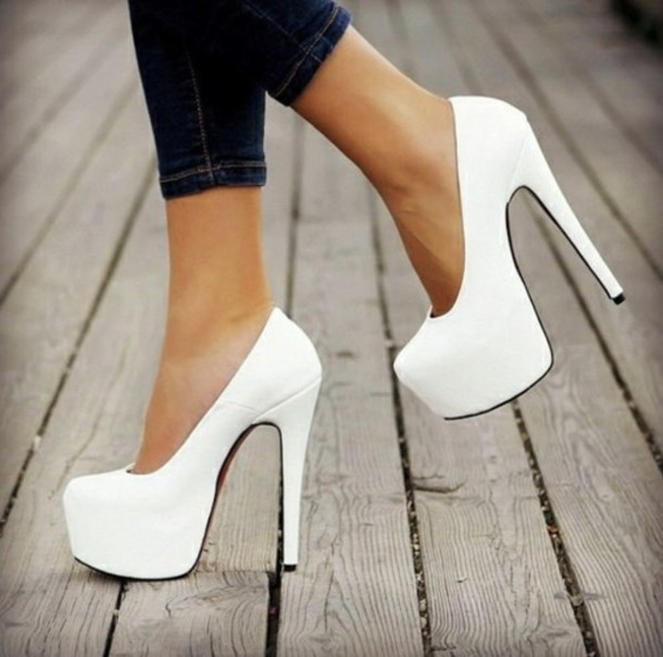 shoes heels high heels white shoes pumps hot white stillettos platform pumps white