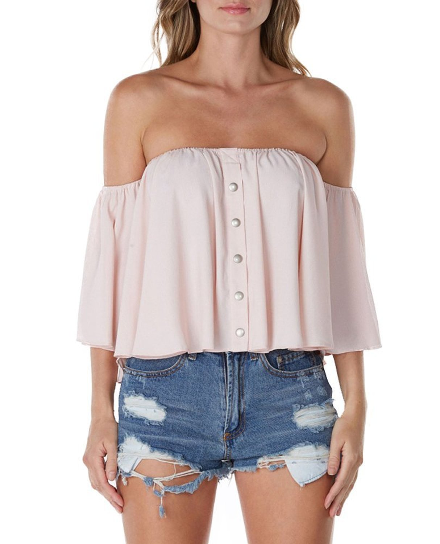 haoduoyi Women Casual Off Shoulder Batwing Sleeve Tops Shirt at Amazon Women's Clothing store: