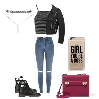 top black and white crop tops jeans blue jeans leather jacket shoes bag red bag grung