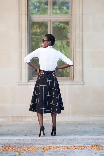 skinny hipster blogger grid midi skirt
