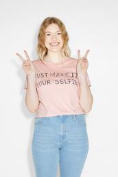 top,monki,selfie,crop tops,pink,slogan t-shirts