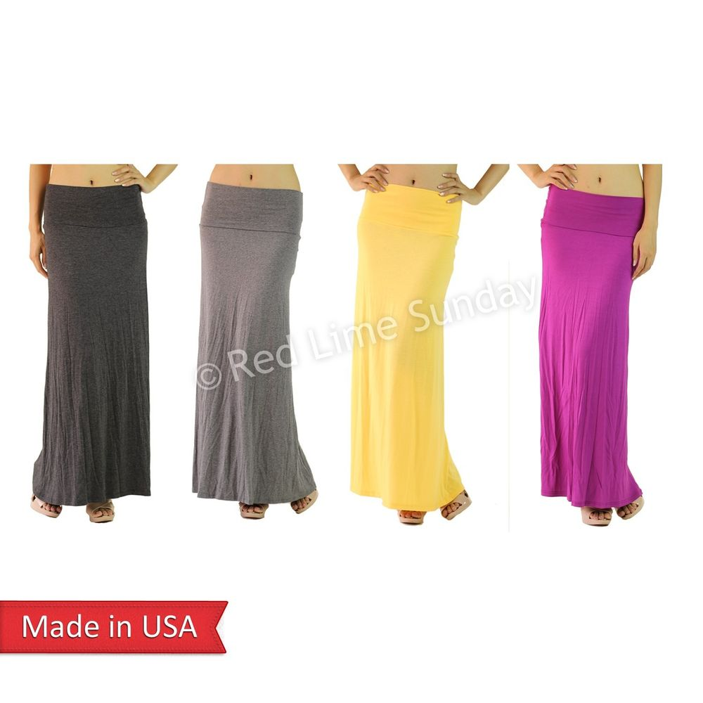 New Women Urban Casual Soft Stretchy Jersey Solid Color Fold Over Maxi Skirt USA