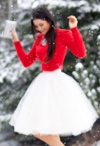 skirt dress tutu christmas dresses red sweater