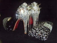 Crystal spike chains shoes with matching bag $25 00 off til end