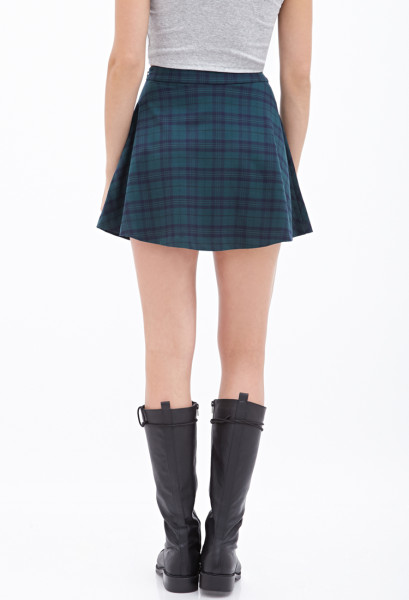 Forever 21 Green Plaid Skater Skirt