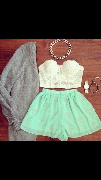skirt shorts outfit tube top jewels gray sweater
