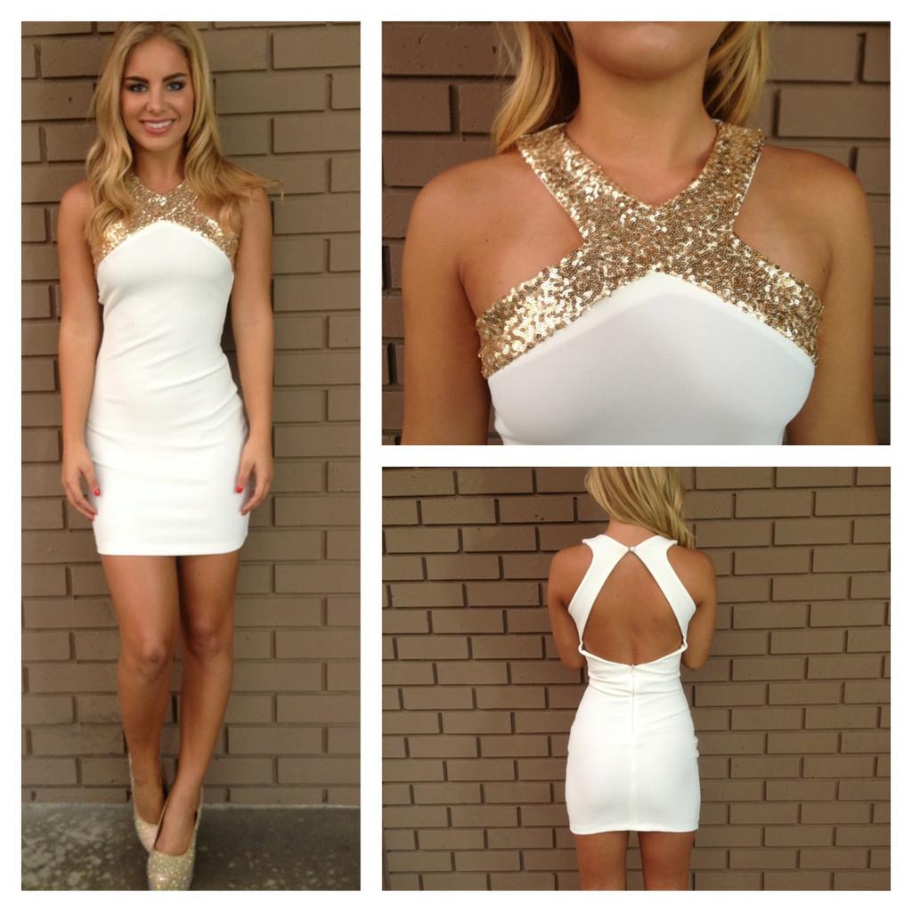 Gold sequin cross over open back dress white