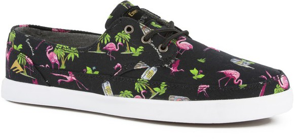 pink green shoes black flamingo palm tree print palm tress