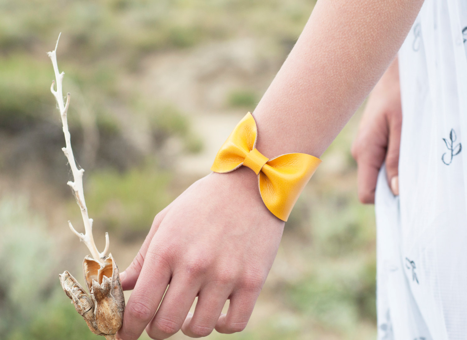SALE Yellow Bow Cuff Bracelet Mustard Faux Leather Vegan Tie Bowtie Scarf Wide Womens Bridesmaid Bridal