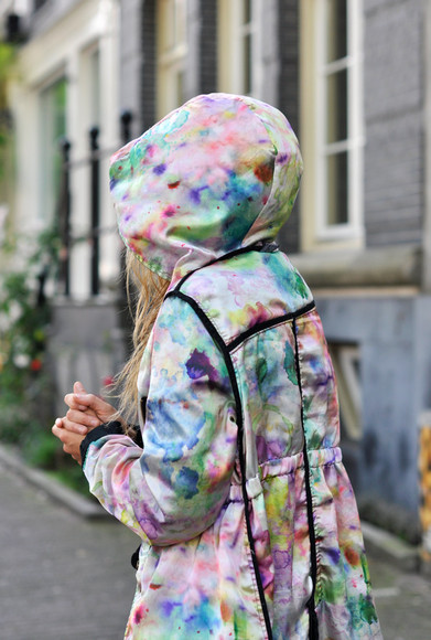 rain coat coat hoodie colorful tie dye watercolor