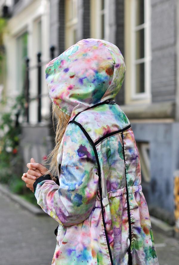 coat colorful rain coat tie dye watercolor hoodie windbreaker jacket dope kawaii