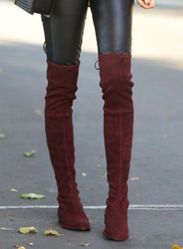 Black Over the Knee Boots Stretch Suede Laced Back High Heels