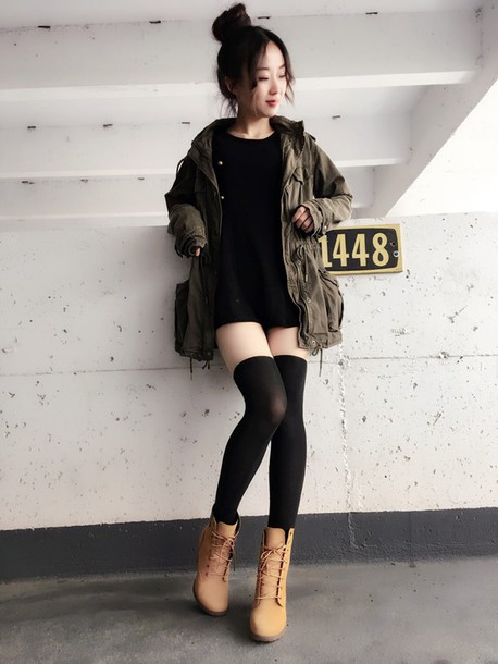 Coat thigh socks thigh highs thights thigh high socks stockings socks booties boots Korean fashion style shoes