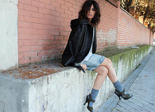 madame rosa blogger socks denim skirt sandals black coat jacket skirt sweater t-shirt shoes socks and sandals